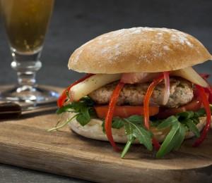 Italian pork peperonata gourmet burgers