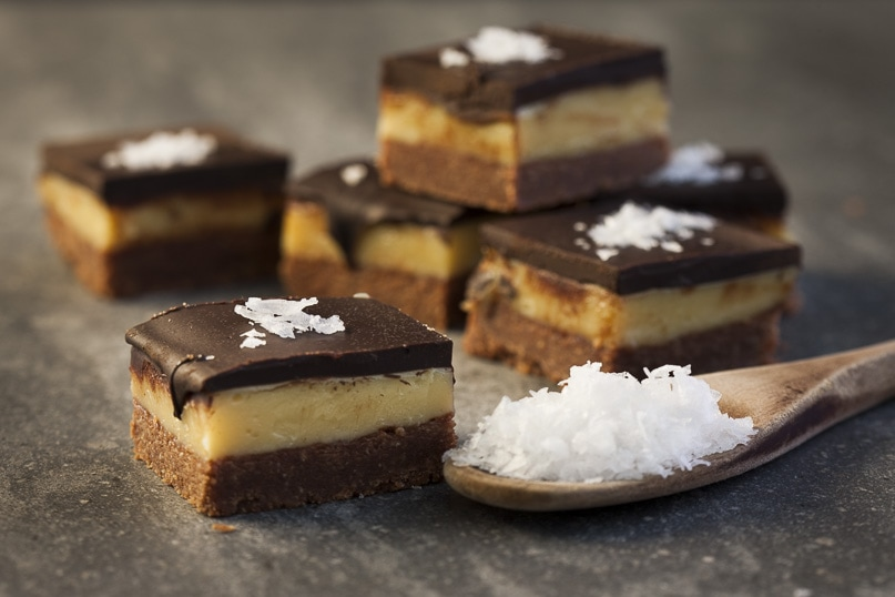 Dark chocolate salted caramel slice