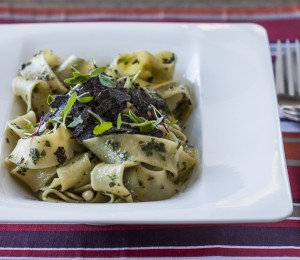 Pappardelle pasta with pesto and black truffle