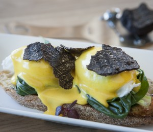 Poached Eggs with Fresh Black Truffles and Bearnaise Sauce