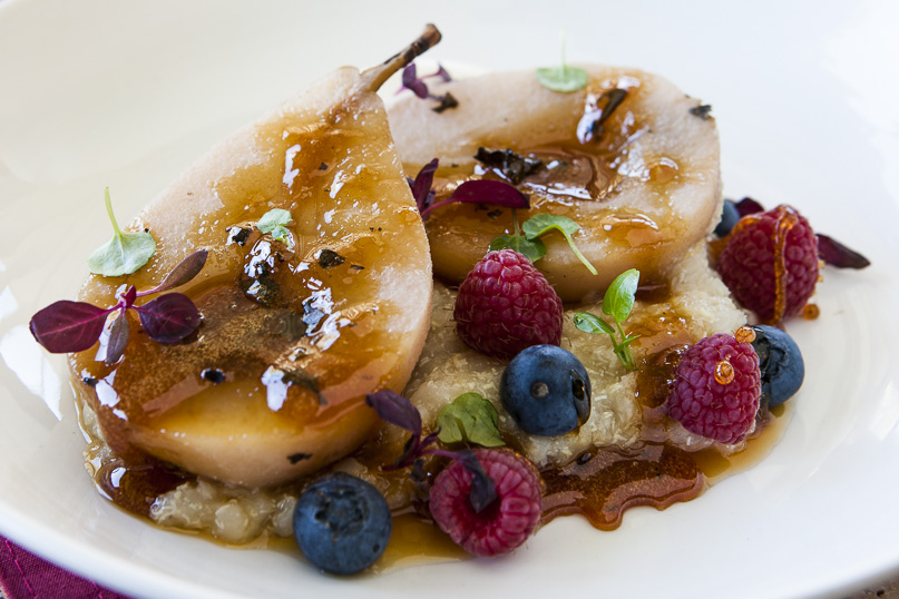 Honey poached pears with quinoa porridge