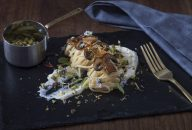 pasta lemoncello with ricotta mushrooms and pistachios
