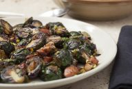 Red Brussels Sprouts with Speck and Pistachios nuts recipe