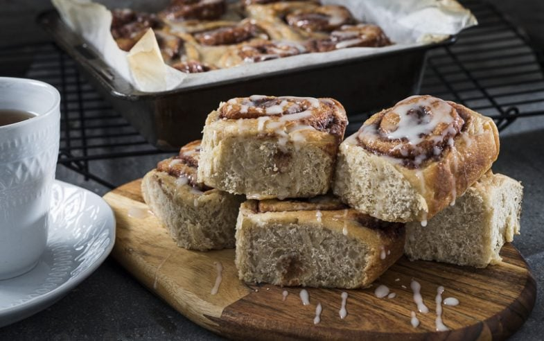 Baked cinnamon scrolls with a honey glaze