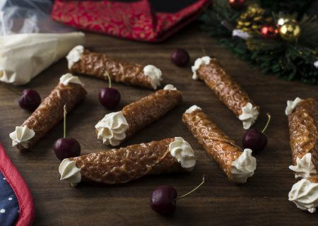 Brandy Snaps filled with vanilla cream
