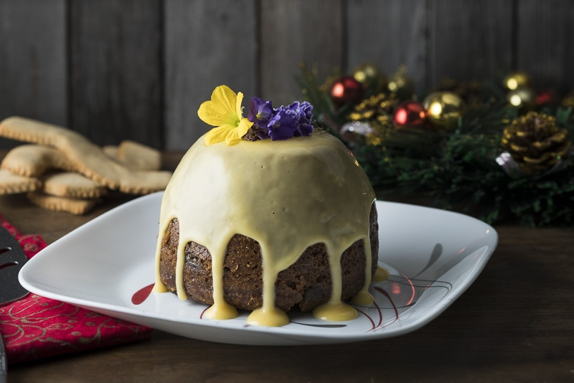 Traditional Christmas pudding and brandy custard