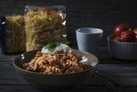 Fusilli pasta topped with ricotta