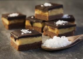 Dark chocolate salted caramel slice