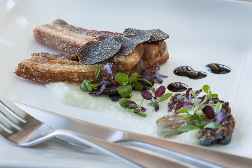 Confit Pork Belly with Cauliflower Puree and Fresh Truffle