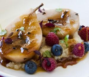 Honey poached pears with quinoa porridge