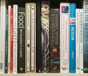 shelf of cookbooks
