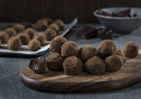 Bite-sized dark chocolate truffles