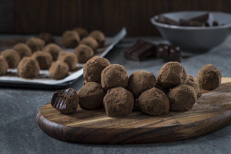 Bite-sized dark chocolate truffles