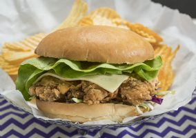 southern styled fried chicken burger